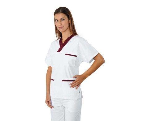 casaca sanitaria pijama enfermería cuello AV algodón
