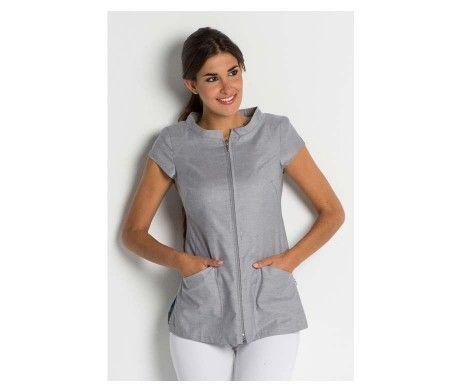 chaqueta gris ropa centros de estética y belleza con cierre cremallera