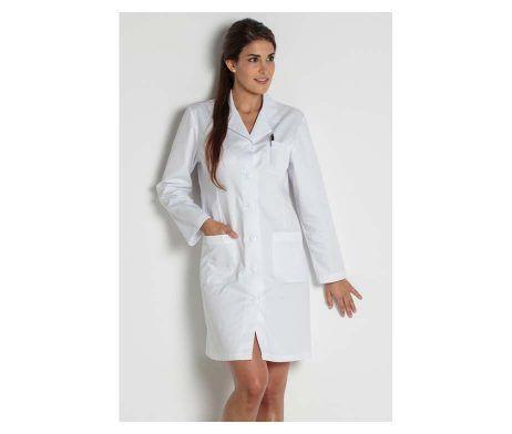 Bata blanca manga larga modelo clásico sanidad