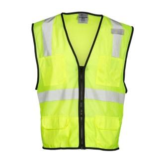 ML Kishigo 1191 6 Pocket Zipper Mesh Lime Vest
