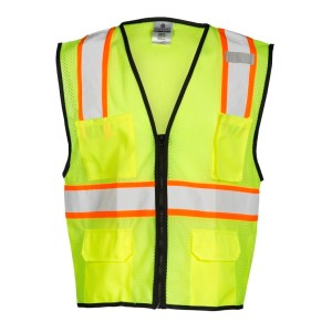 ML Kishigo 1517 4 Pocket Contrast Lime Mesh Vest