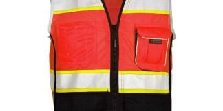 ML Kishigo 1715 Fluorescent Red Black Bottom Safety Vest