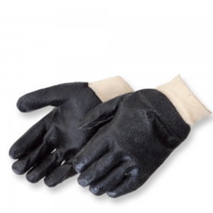 Liberty Gloves 2131 Semi-Rough Black PVC Glove with Knit Wrist, Dozen
