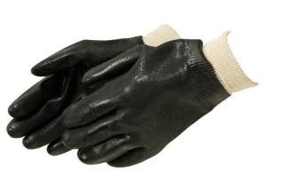 Liberty Gloves I2431 Rough Finish Black PVC Glove with Knit Wrist, Dozen