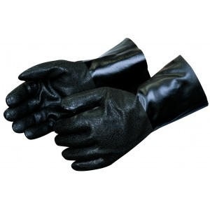 Liberty Gloves I2434 Rough Finish Black PVC Glove with 14 inch Gauntlet, Dozen