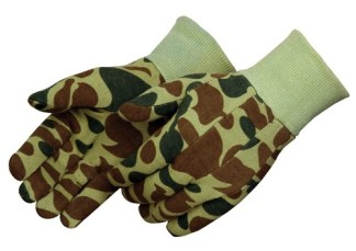 4506 Green Hunting Camouflage Jersey Glove With Knit Wrist, Dozen