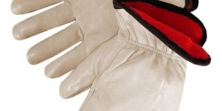 6227 Quality Insulated Red Fleece Grain Cowhide Drivers Glove With Keystone Thumb