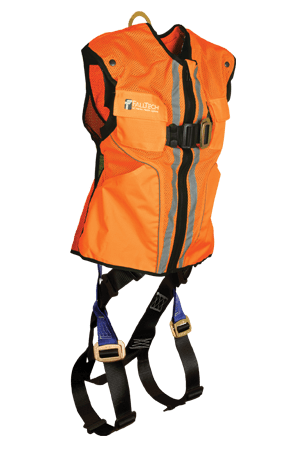 FallTech 7015 Hi-Vis Orange Vest Contractor Full Body Harness
