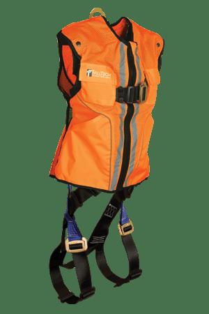 FallTech 7015 Hi-Vis Orange Vest Contractor Full Body Harness