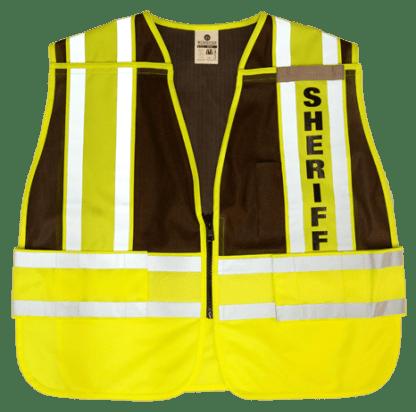 MLK 8054BZ Lime Brown/Sheriff Class 2 Safety Vest