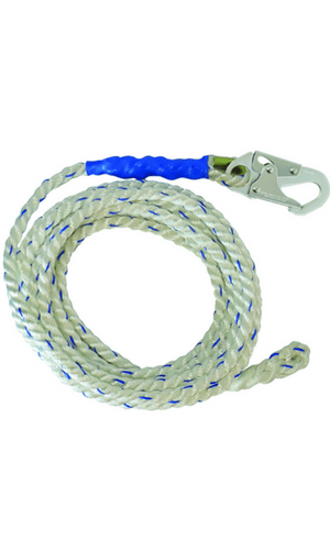 "FallTech 8125T Vertical Lifeline 25' VLL Snap Hook + Taped-end 5/8"" White"