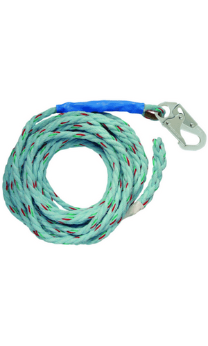 "FallTech 8149 50' Vertical Lifeline Snap Hook + Braided and Taped-end 5/8"" Blue"