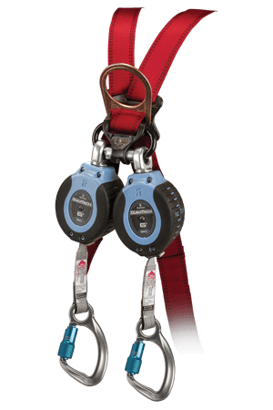 FallTech 82706TB6 DuraTech® 6 Twin 6fl Compact Web SRL Alum. Captive-Eye Carabiner leg-end Connectors