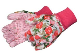 9210 Floral Printed Cotton Glove With PVC Dots, Dozen