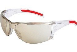 HK119 Hellkat Indoor-Outdoor Clear mirror Lens With Clear Frame and Red TPR  Temple