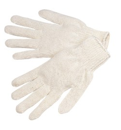 P4527 Heavy Natural White Cotton/Polyester String Knit Gloves, Dozen