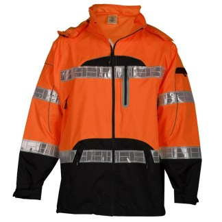 ML Kishigo RWJ107 Premium Black Series Orange Class 3 Rain Jacket