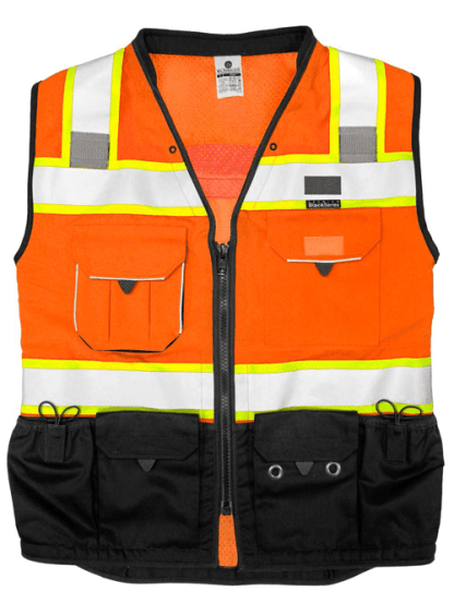 S5003 Premium Black Series Orange Class 2 Surveyors Vest