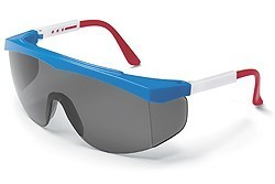 Stratos Safety GlassesRed, White and Blue Frame - Grey Uncoated Lens