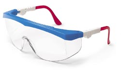 Tomahawk Safety GlassesRed, White, Blue Frame, Clear Lens, Duramass AF4