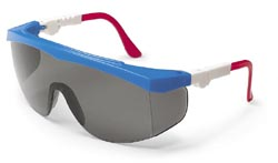 Tomahawk Safety GlassesRed, White, Blue Frame, Grey Lens, Duramass AF4