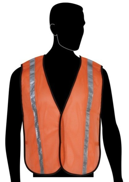 N16001F All Mesh Orange Non-ANSI Vest, With Reflective Stripes