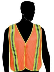 "N16240 Fluorescent Orange Vest - 2"" stripes w/flo green trim on front & back - Velcro closure - Elastic side strips"