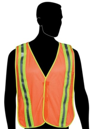 "N16240 Fluorescent Orange Vest - 2"" stripes w/flo green trim on front & back - Velcro closure - Elastic side strips"