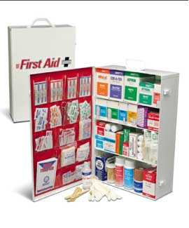 EMPTY 4 SHELF FIRST AID CABINET  WITH LINER
