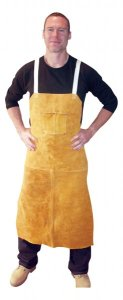 4242 Leather Aprons - Bib apron w/ 2 chest pockets & back straps