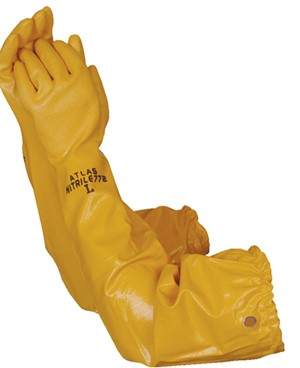 "Liberty Gloves 772 Atlas Yellow Nitrile Rough Finish with 26"" Sleeve, Dozen"