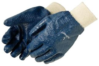 Liberty Gloves 9433 Fully Coated Rough Blue Nitrile Glove with Knit Wrist, Dozen