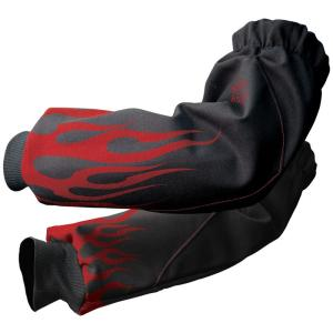 Black Stallion BX9-19S-BK BSX FR Cotton Sleeves, Black with Red Flame Graphic