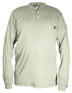 H1T - Flame Resistant (FR) Long Sleeve Tan Henley Shirt, 100% Cotton