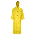 R8622FRC Defiance 2-Piece Rain Coat, 60-Inch Length, Yellow .28 mm. PVC/Nylon/PVC Fabric, Flame Resistant (ASTM D6413)