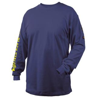 Black Stallion TF2510-NV  7 oz. 100% FR Cotton Knit Long-Sleeve T-Shirt, Navy