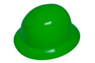 DURASHELL FULL BRIM 6 POINT RATCHET SUSPENSION HI-VIZ GREEN HARD HAT