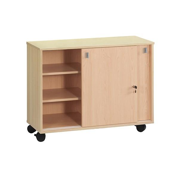 meuble bas portes coulissantes pitchoune sur roulettes l120 x p45 x h89 cm