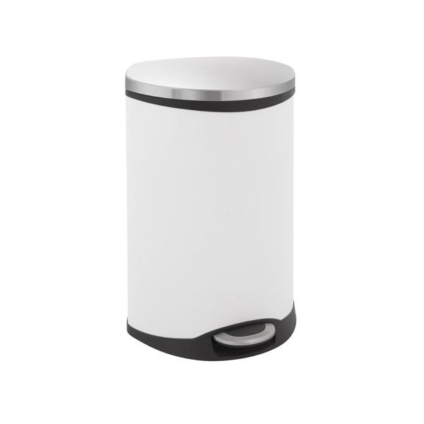 poubelle a pedale coquillage evolution blanc et inox mat 50 litres