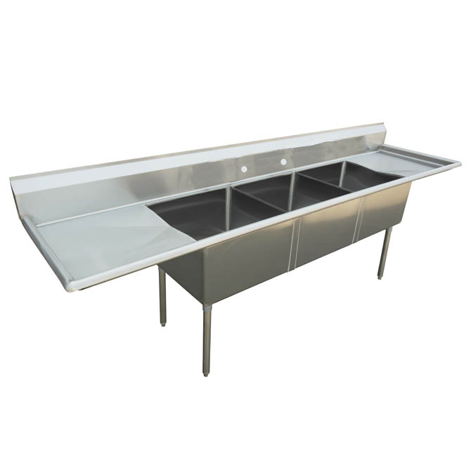 sauber 3 compartment stainless steel sink with two 18 drainboards 84 w