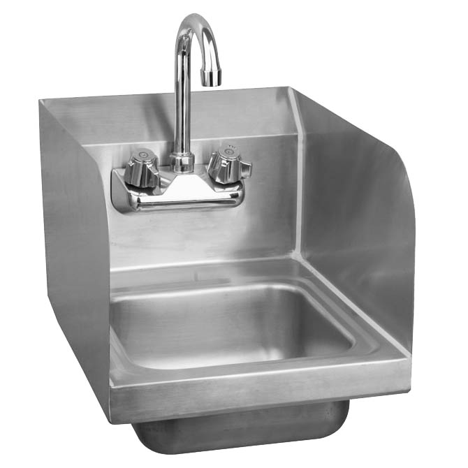 sauber stainless steel wall mount hand sink with faucet and splash guards 17 w