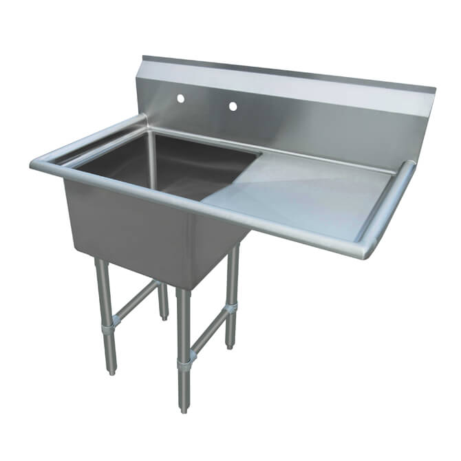 sauber select 1 compartment stainless steel sink with 18 drainboard on right 38 1 2 w