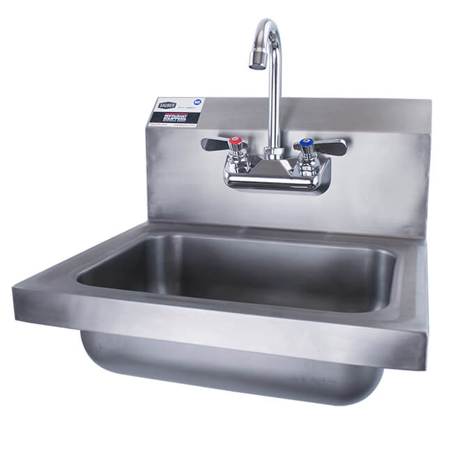 sauber stainless steel wall mount hand sink with faucet 17 w