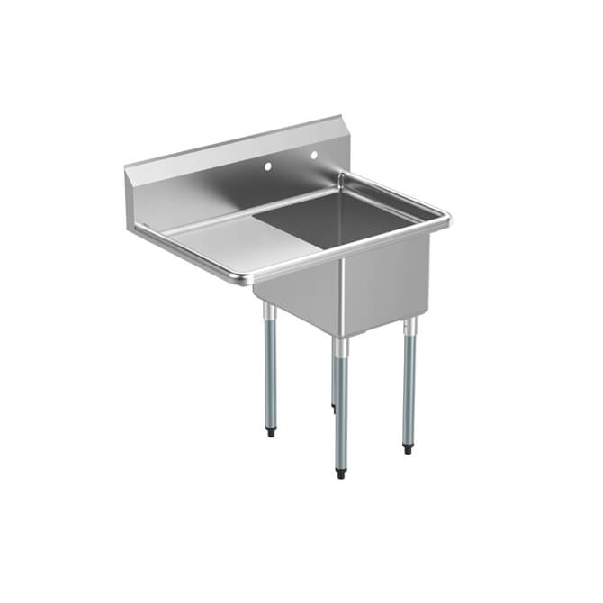 sauber 1 compartment stainless steel sink with 18 drain board on left 36 1 2 w