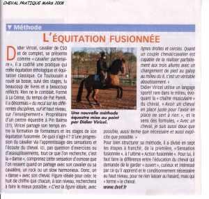 article de cheval pratique de mars 2008 parlant de l'équitation fusionnée