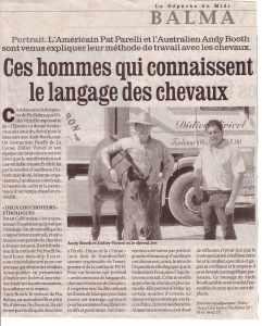 Article de la depeche du midi du 06-2005 sur l'équitation fusionnée