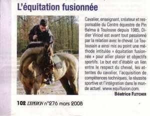 Deuxiéme article l'éperon parle de l'équitation fusionnée