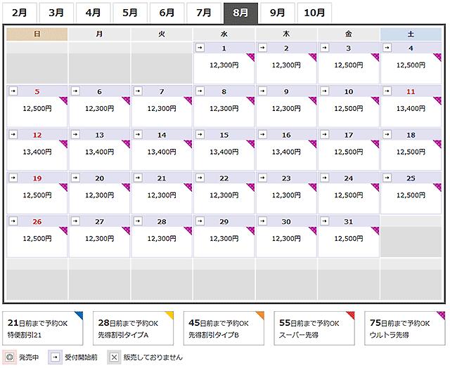JAL先得カレンダー那覇沖永良部
