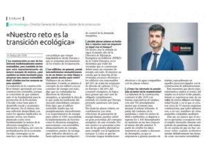 Entrevista en El Correo a Jon Ansoleaga director general de Eraikune
