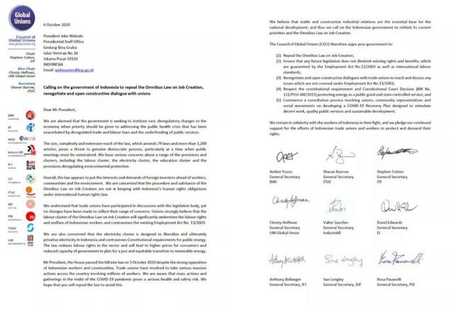 Pakai Bahasa Inggris Serikat Buruh Dunia Surati Jokowi Minta Omnibus Law Cipta Kerja Dicabut Eramuslim